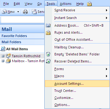 Set up an email account in Microsoft Outlook