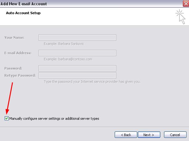 Manually configure server settings